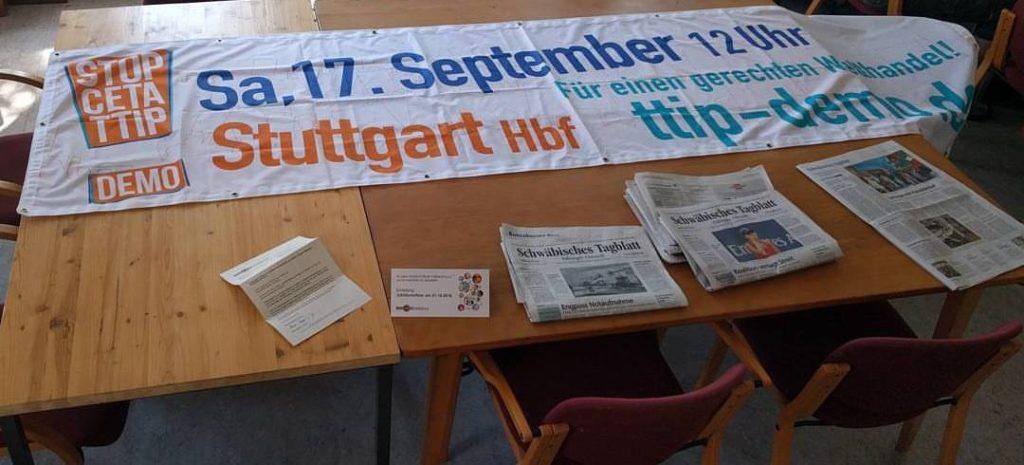 Banner zur Großdemonstratition gegen TTIP und CETA in Stuttgart