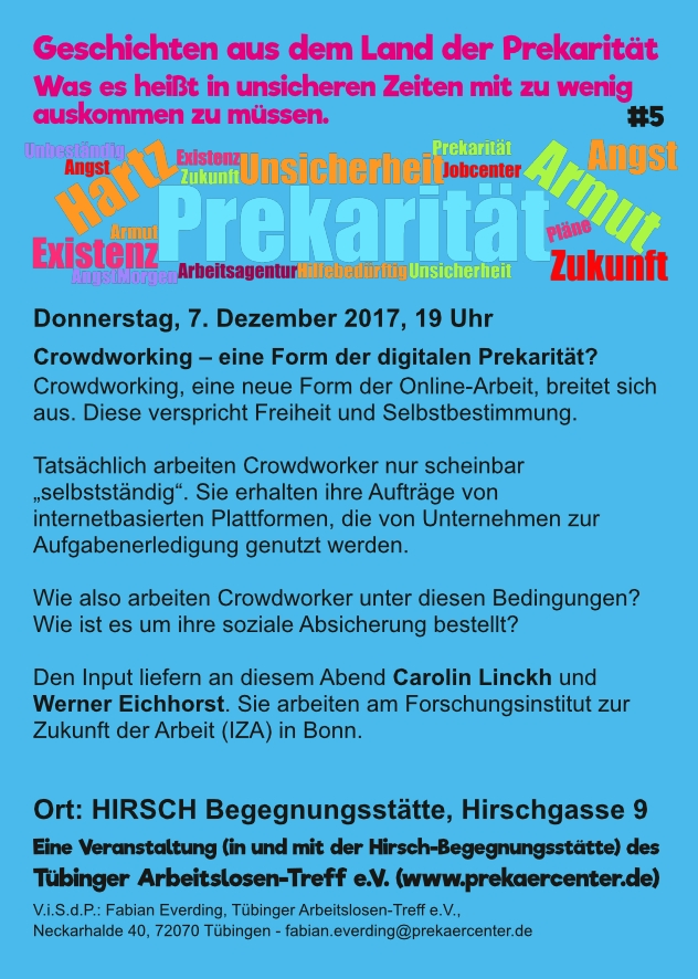 """Flyer zur Veranstaltung """"Crowdworking – eine Form der digitalen Prekarität?"""""""