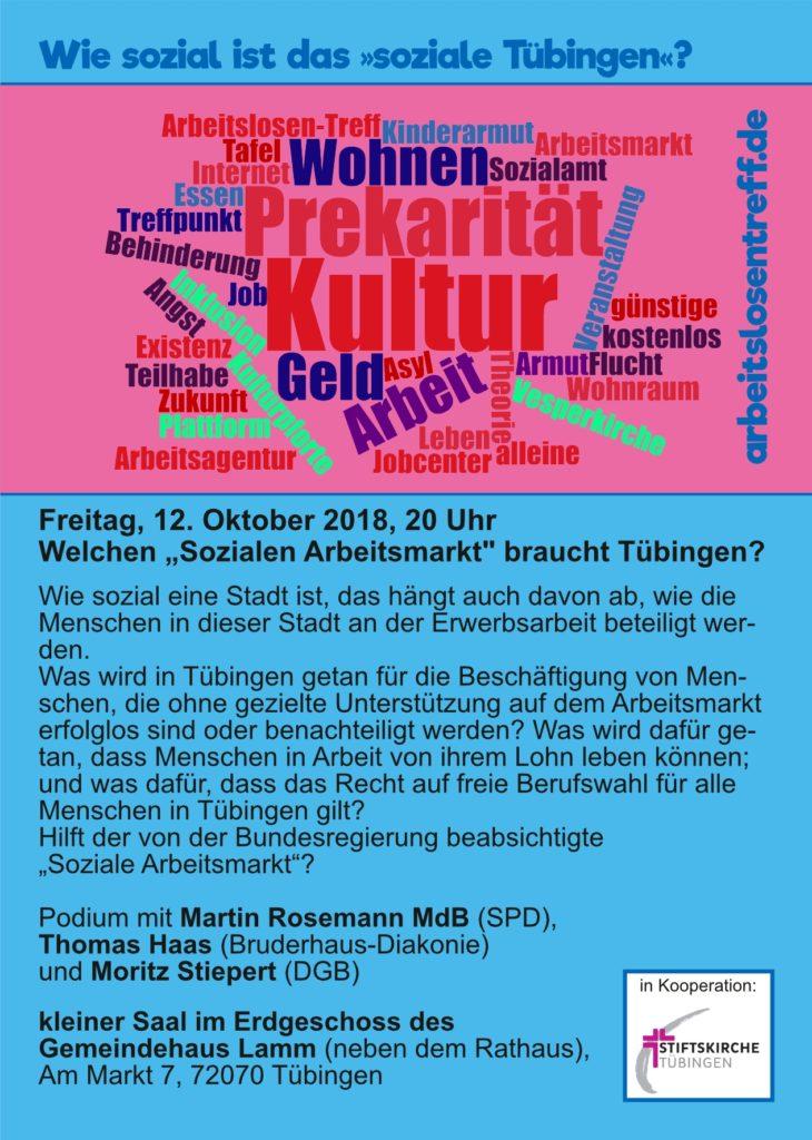 """Fr, 12.10.: Welchen """"Sozialen Arbeitsmarkt"""" braucht Tübingen?"""