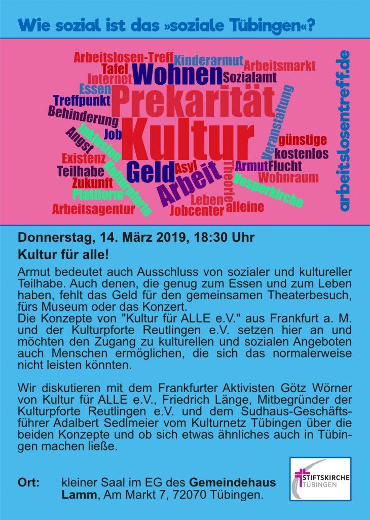 Do, 14.03.: Kultur für alle!
