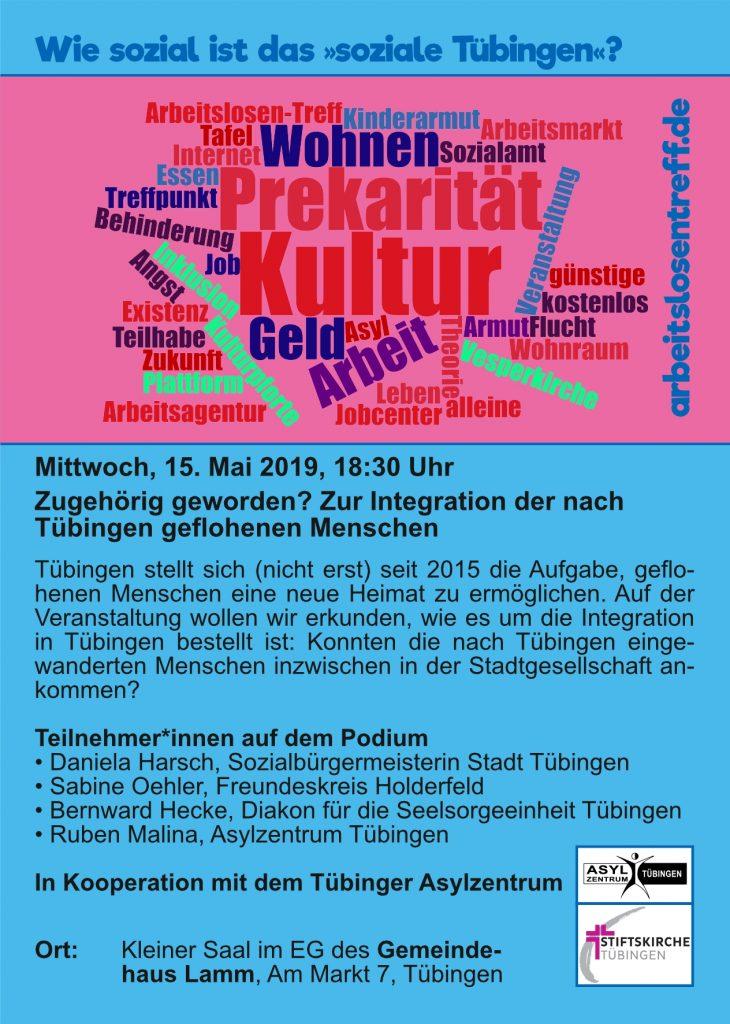Flyer: Zugehörig geworden? Zur Integration der nach Tübingen geflohenen Menschen
