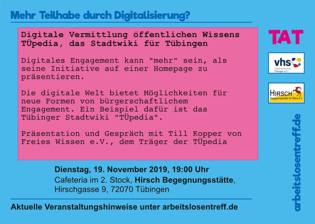 Digitale Vermittlung öffentlichen Wissens: TÜpedia, das Stadtwiki für Tübingen