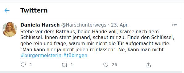 Twitter-Beitrag von Daniela Harsch