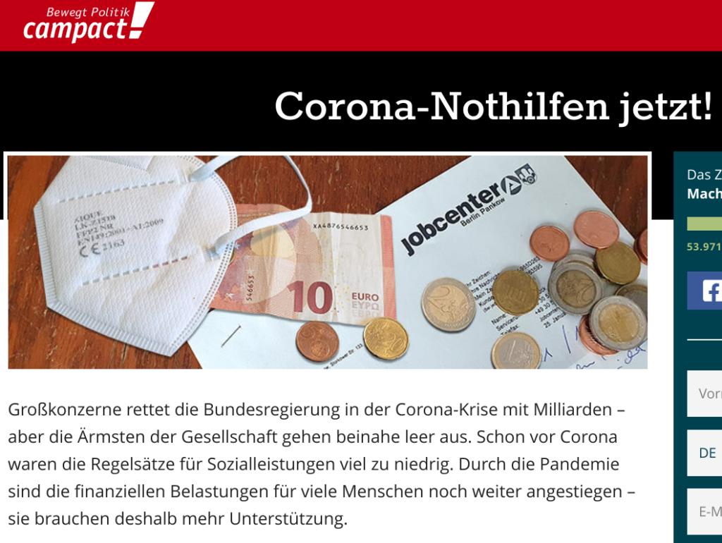 campact: Corona-Nothilfen jetzt!